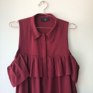AX Paris Maroon Short Dress with Ruffle Detail